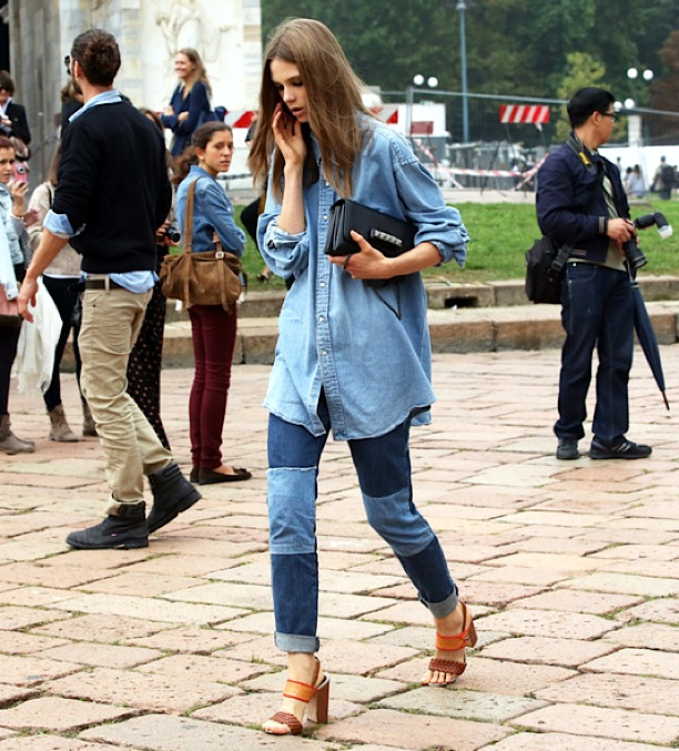 STREET-STYLE-FASHION-WEEK-MODEL-OFF-DUTY-caroline-brasch-nielsen-DENIMON-DENIM-CANADIAN-TUXEDO-CHAMBRAY-SHIRT-PATCHWORK-JEANS-CUFFED-ROLLED-ANKLE-SANDALS-VALENTINO-
